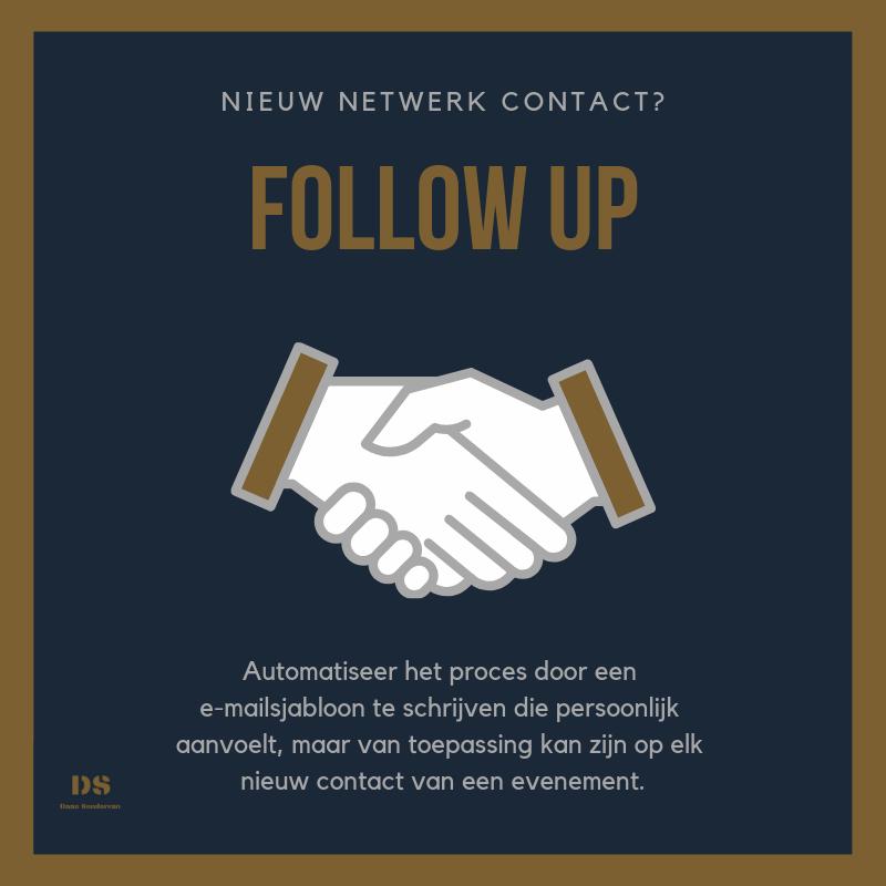 met marketing automatisering kan elke nieuw netwerk contact automatisch worden opgevolgd